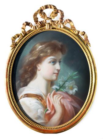 Ecole française du XIXe siècle Portrait de jeune femme en ovale.  Pastel encadré [...]