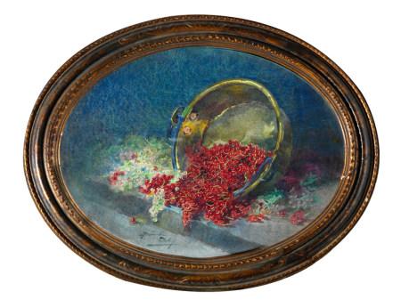 Blanche ODIN ( (1865 - 1957) Corbeille de myrtilles Aquarelle en ovale signée en bas [...]