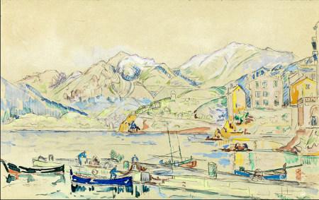 Paul SIGNAC (1863-1935) Lac italien Gravure en couleur. 27 x 42 cm à vue Cachet sec [...]