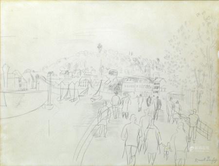 Raoul DUFY (1877 - 1953) Promenade sur les quais à Trouville. Circa 1928 Crayon sur [...]