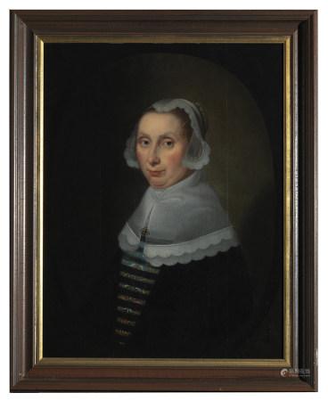 École hollandaise du XVIIe siècle Portrait de dame au bonnet et à la collerette [...]