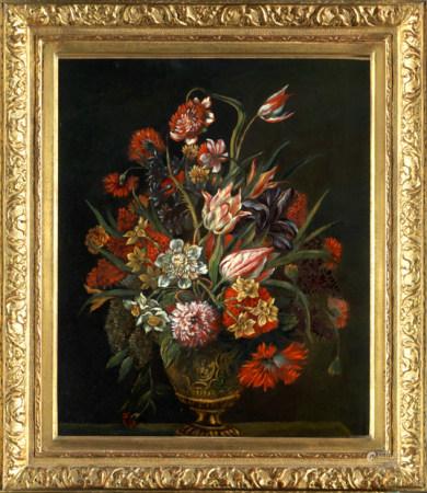 Ecole française vers 1680, entourage de Nicolas BAUDESSON. Vase de fleurs sur [...]