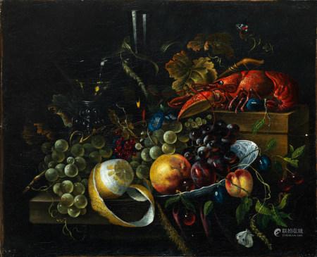 Dans le goût de l'école hollandaise du XVIIe siècle Nature morte avec fruits, [...]