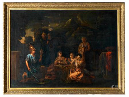 Ecole d'Italie du Nord vers 1800. Le jugement de Paris. Huile sur toile. Cadre bois [...]