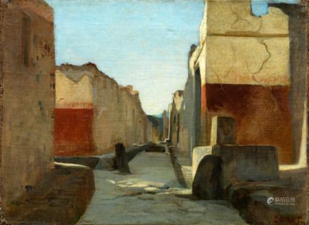 Ecole française du XIXe siècle Vue d'une rue de Pompei Huile sur toile Porte la [...]