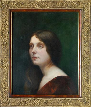 Ecole française de la fin du XIXe siècle Portrait d'une jeune femme en robe rouge [...]