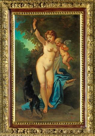 Henri Pierre PICOU (Nantes,1824 - 1895) Vénus et Amour. Huile sur papier marouflé [...]