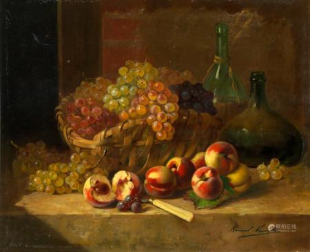 Alfred BRUNEL-NEUVILLE (1852-1941) Nature morte aux pêches Huile sur toile signée [...]