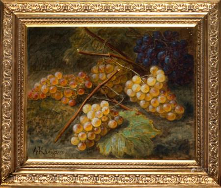 Alexis KREYDER (Andlau,1839 - Paris,1912 ) Grappes de raisins Huile sur toile signée [...]