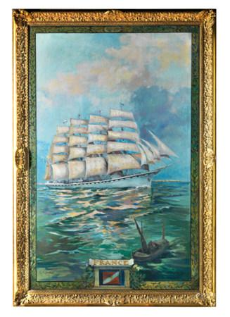 Georges CONRAD (1814 - 1936) Le quatre mats FRANCE  Huile sur toile signée en bas à [...]