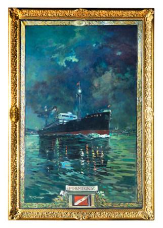 Georges CONRAD (1814 - 1936) Le paquebot FORMIGNY au soleil couchant. Huile sur toile [...]