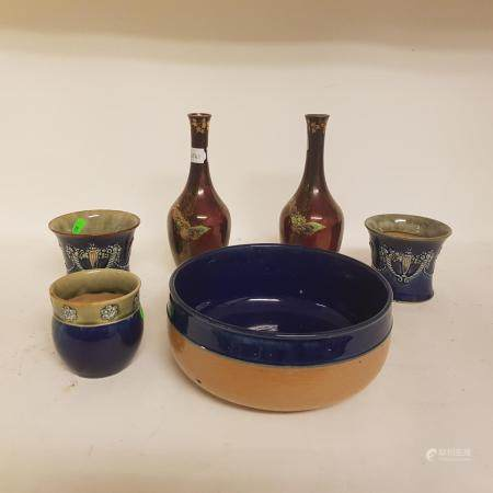 A pair of Devon Fieldings Sylvan Lustrine bottle vases, a group of Doulton stoneware, and a quantity