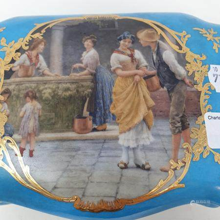 A Sevres style box and cover, 20 cm wide Report by RB Modern