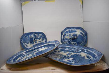 A 19th century Staffordshire pottery meat plate, other matching items and a brass mounted wall (5)