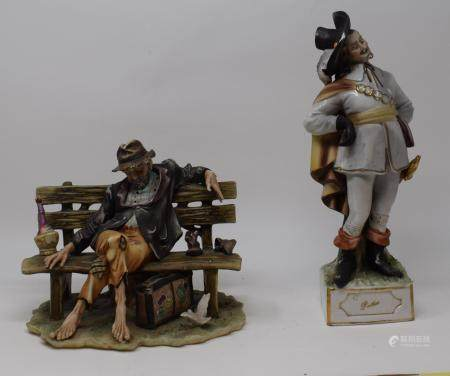 Assorted Capo di Monte figures, a vase and other other items (qty)