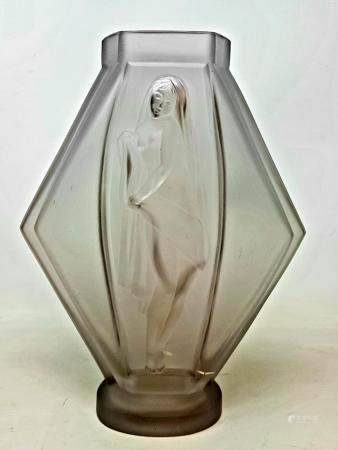 A Etling of France glass vase, decorated with figure, 26 cm
