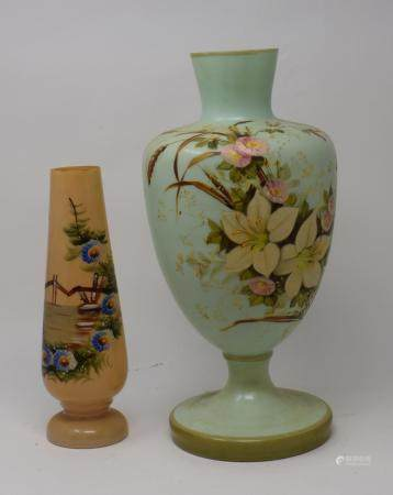 A 19th century opaque glass vase painted with flowers, and other ceramics and glass (3 boxes)
