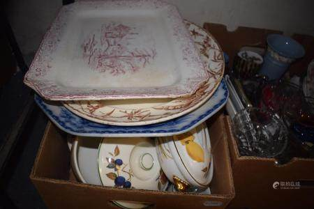 A late 19th century crystoleum, a Royal Worcester part Evesham dinner set, and various other
