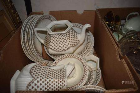 An Adams part dinner service, other ceramics and items (4 boxes)