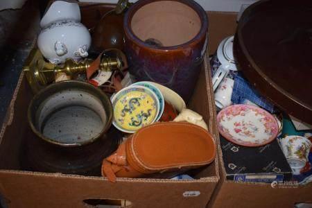 Assorted ceramics, metalwares, a pair of binoculars and sundries (4 boxes)