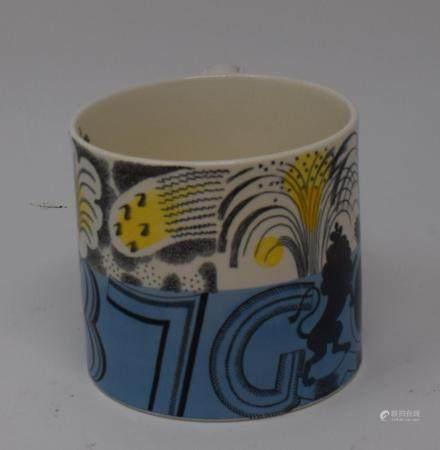 Eric Ravilious for Wedgwood, a George VI coronation mug, 1937, 10 cm high