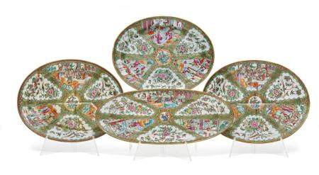 GROUP OF FOUR FAMILLE ROSE SERVING DISHES CHINA, SECOND HALF