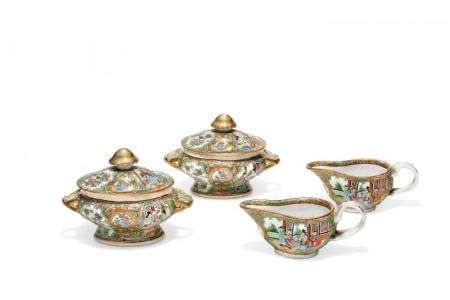 GROUP OF FOUR SERVING DISHES CHINA, SECOND HALF OF 19TH CENT