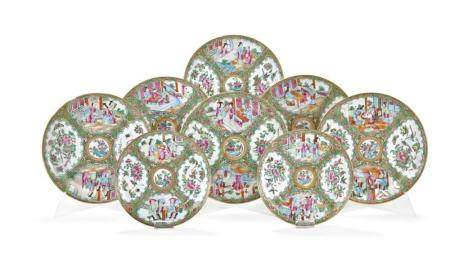 GROUP OF TWENTY FAMILLE ROSE DISHES CHINA, SECOND HALF OF 19