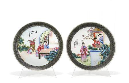 PAIR OF POLYCHROME PORCELAIN DISHES CHINA, 20TH CENTURY