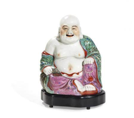 POLYCHROME PORCELAIN BUDAI MOUNTED AS A LAMP CHINA, 20TH CEN