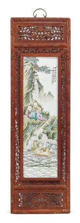 POLYCHROME PORCELAIN PANEL ATTRIBUTED TO WANG QI (1884-1937)