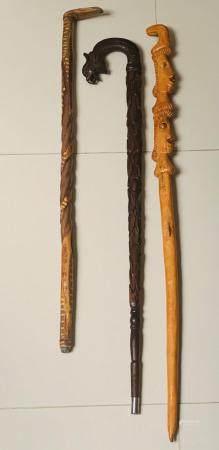 3 Vintage Carved Wood Walking Sticks