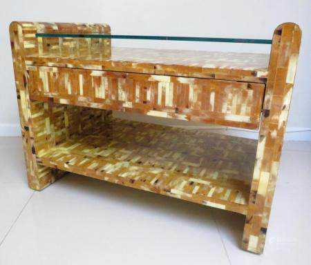 Karl Springer Tessellated Horn 2 Tier Coffee Table