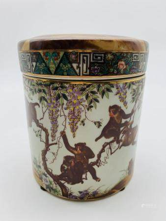 William Sung Porcelain Monkey Canister