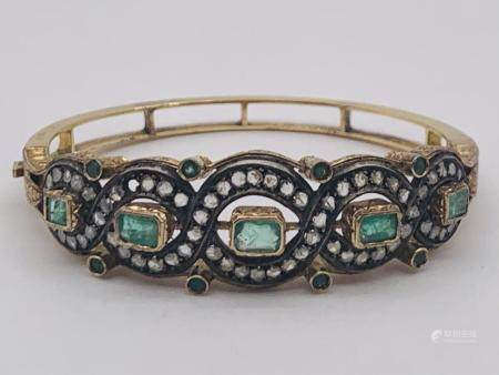 Victorian 18K, Emerald, Diamond Bracelet