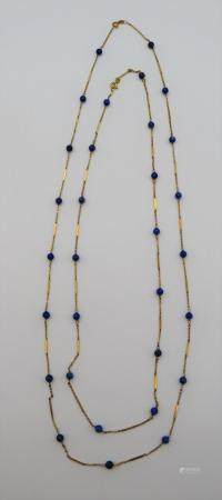 2 Vintage Italian 14K and Lapis Beaded Necklaces