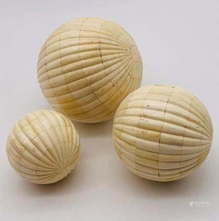 Set Of 3 Tessellated Bone Spheres