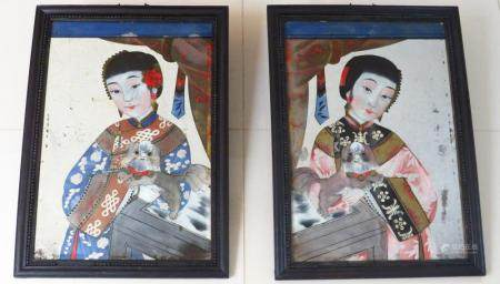 Pr 19C Chinese Reverse Paintings On Mirrored Glass