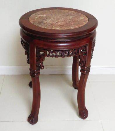 Late 19C Chinese Carved Wood Pedestal Table