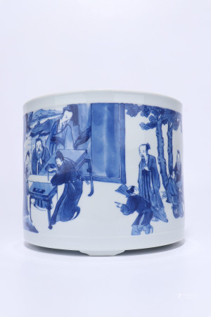 A Chinese Blue And White Porcelain Censer, Qing Dynasty