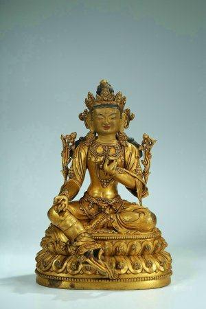 A Chinese Gilt Bronze Figure Of Dumu