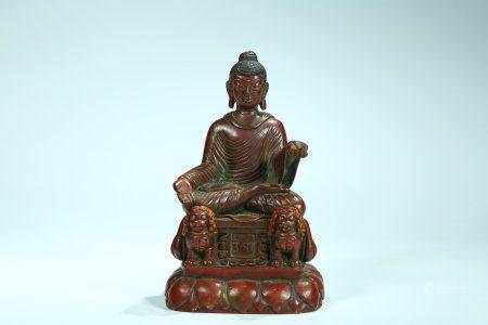 A Chinese Kashmiri-Style Bronze Figure Of Sakyamuni