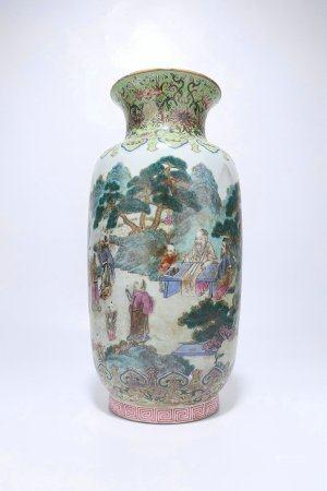 A Chinese Famille-Rose Porcelain Vase,Qing Dynasty