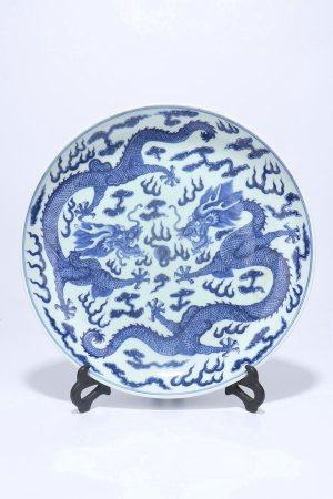 A Chinese Blue And White Porcelain Plate,Qing Dynasty
