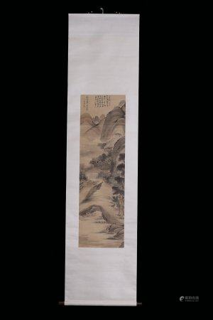 A Chinese Silk Scroll Painting By Wen Boren,Ming Dynasty