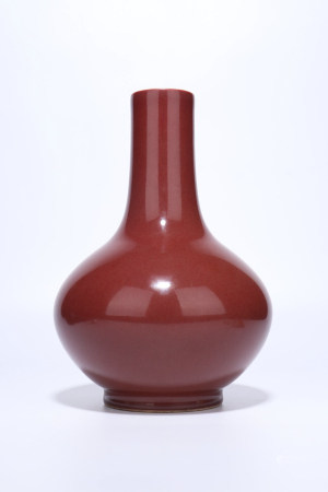 A Chinese Red Glazed Porcelain Vase,Qing Dynasty