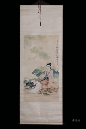 A Chinese Modern Painting Of Lady By Zhao Yunyu