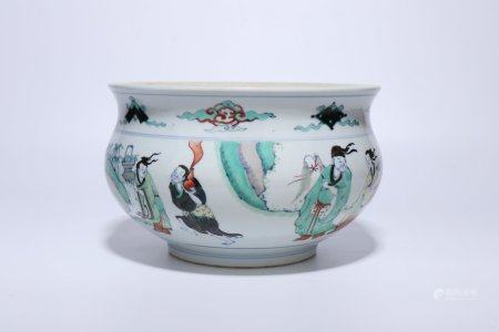 """A Chinese Dou-Cai Porcelain """"Figure"""" Censer,Qing Dynasty"""