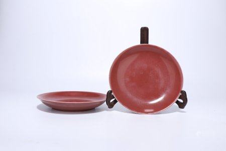 A Pair Of Chinese Red Glazed Porcelain Plates,Qing Dynasty