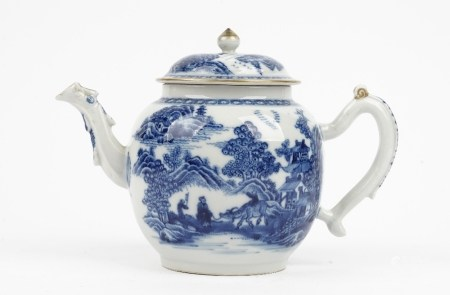 A Chinese blue and white bullet shape teapot, Qianlong,